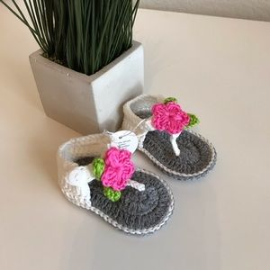 Other - Brand New Knit Newborn Baby Girl Sandals Shoes 0-3